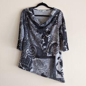 🆕 Cleo   asymmetric paisley cowl neck shirt